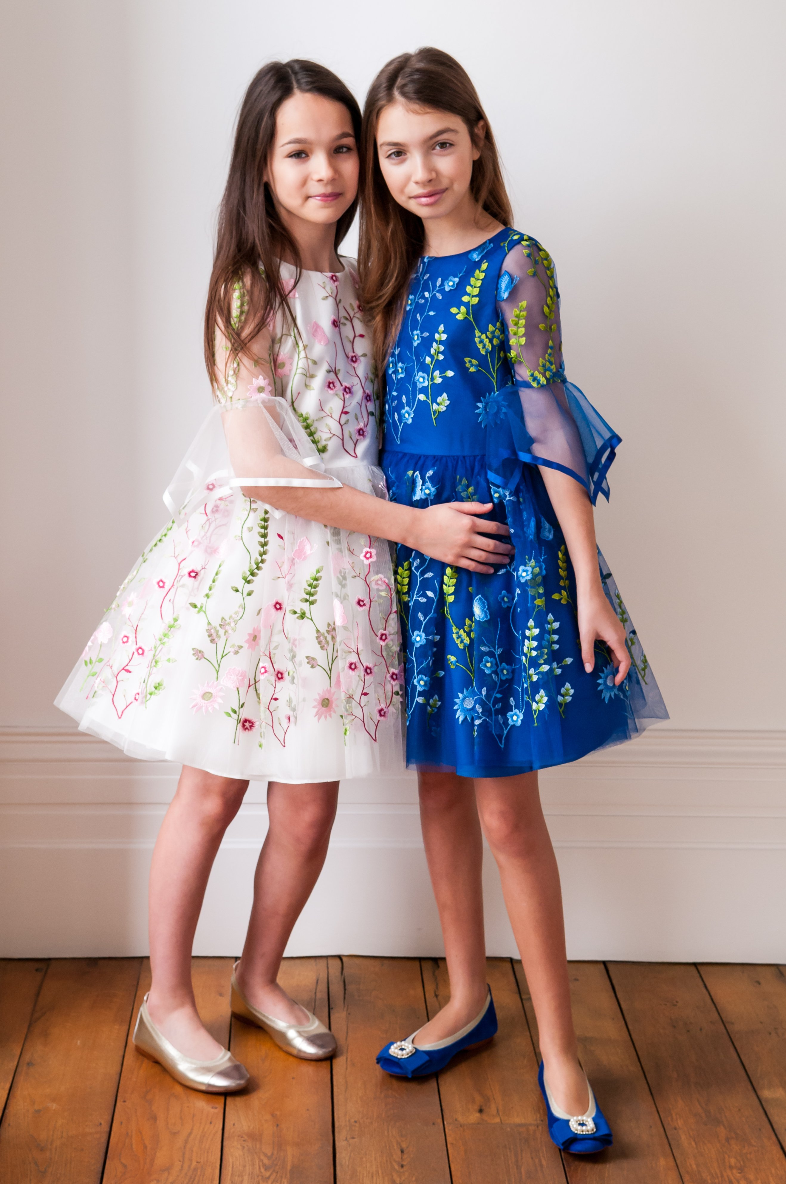 Blue and White Floral Embroidered Dresses