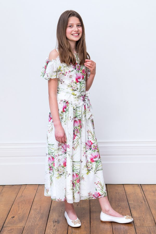 Ivory and Pink Floral Maxi Dress