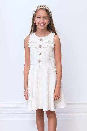 Embellished Ivory Tweed Dress