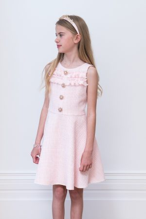 Jewelled Sugar Pink Tweed Dress