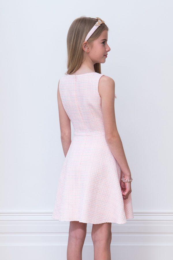 Jewelled Sugar Pink Tweed Dress