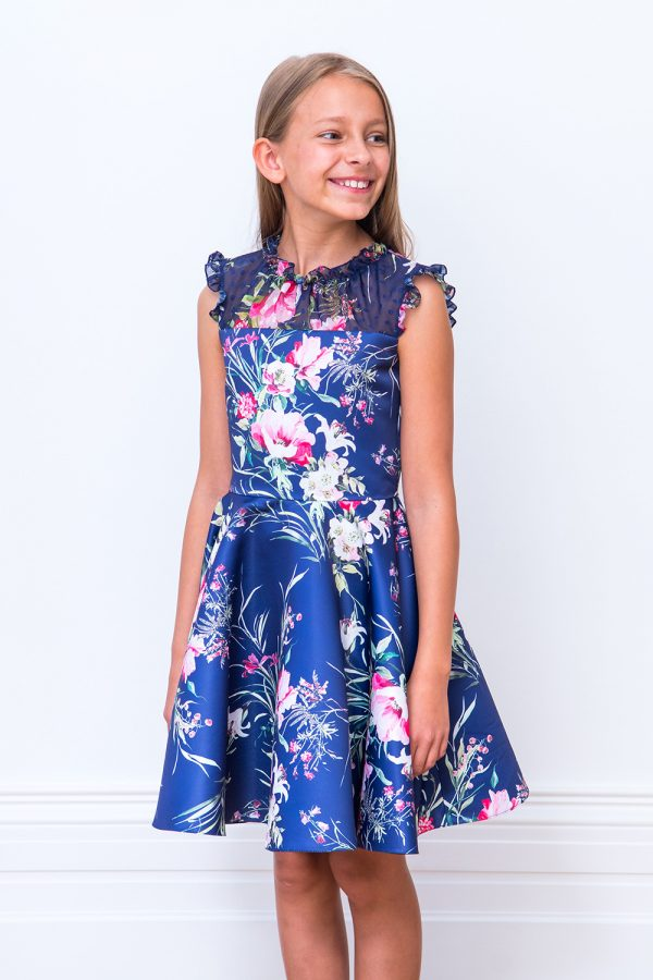 Royal Blue Floral Party Gown