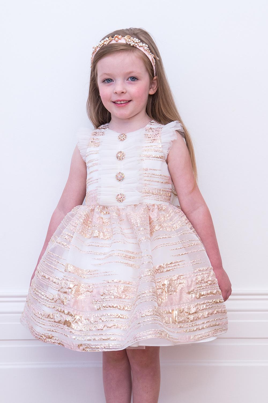 d9657f6f9fd4 Šampaňské růžové narozeninové šaty - David Charles dětské oblečení