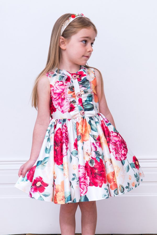 Ivory and Fuchsia Pink Floral Dress