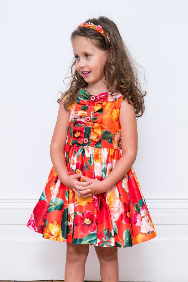 Orange Floral Summer Dress