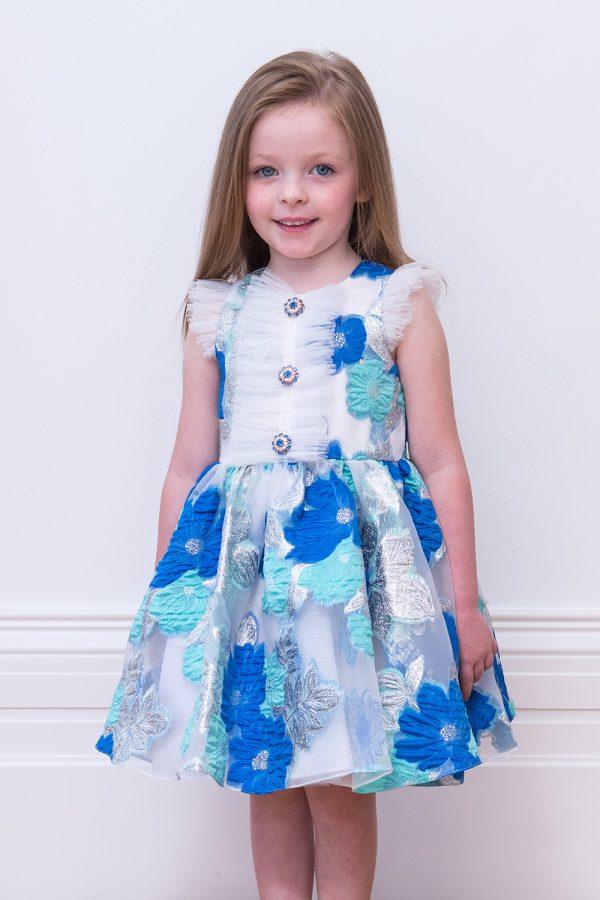 Blue Shimmer Flower Girl Gown