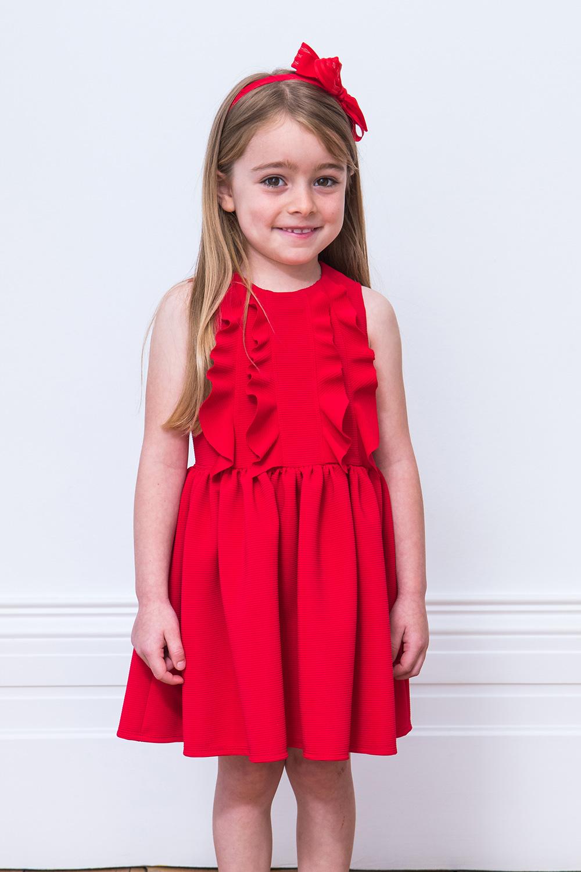 980065c73 فستان أحمر فريل حفلة - ملابس أطفال ديفيد تشارلز