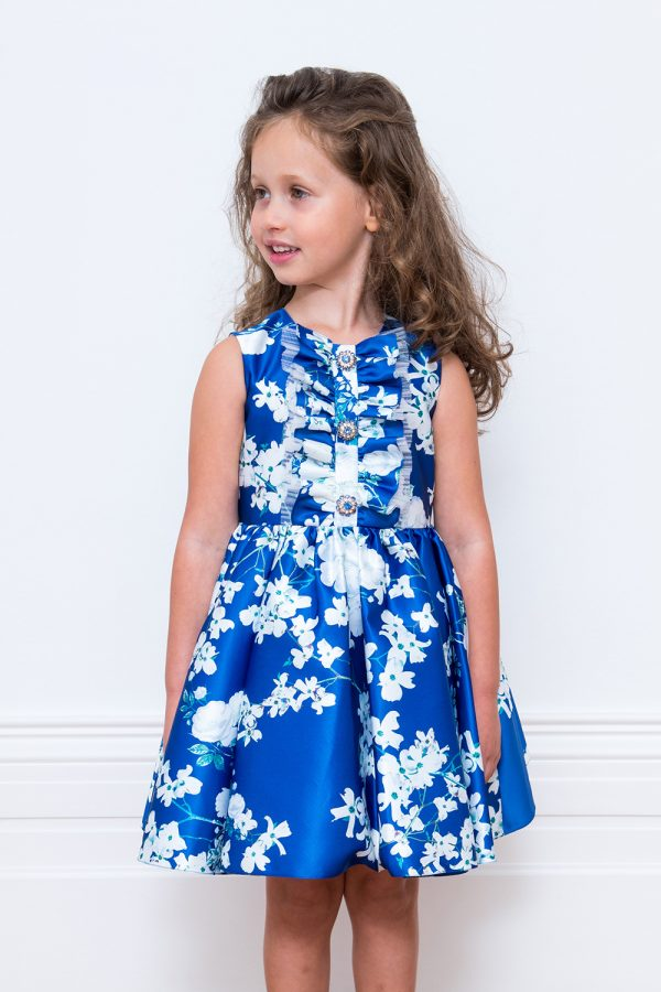 Royal Blue Floral Deluxe Dress