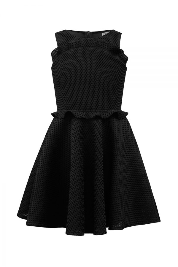 Black Peplum Frill Dress