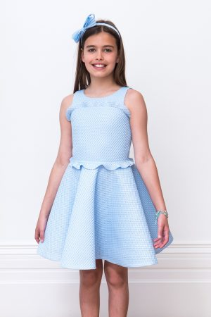 Pastel Blue Peplum Frill Gown