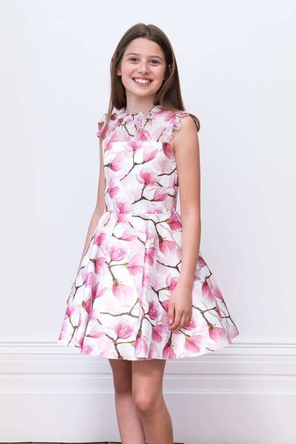 Ivory and Peony Pink Tea Dress