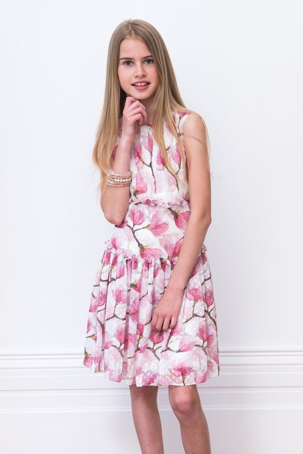 Ivory and Pink Drop Waist Dress
