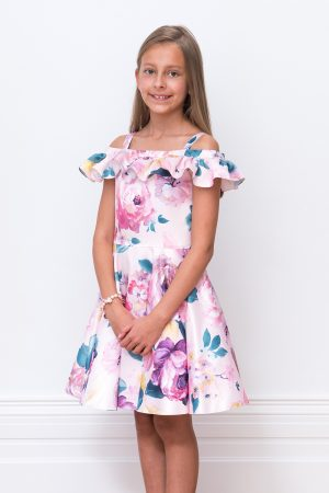 Pink Floral Bardot Birthday Dress