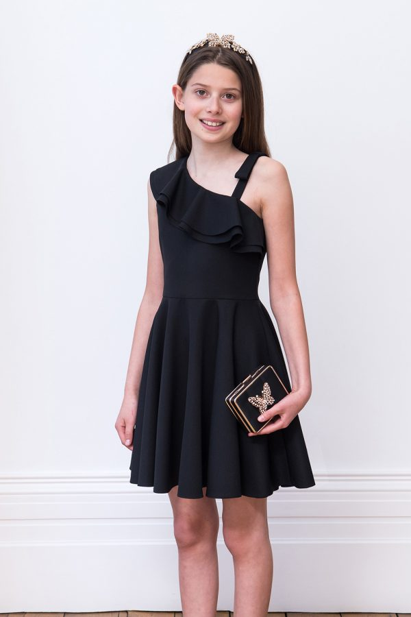 Black Asymmetric Formal Dress