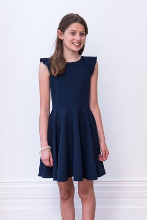 Navy Frill Back Dress