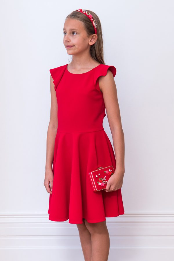Scarlet Red Frill Back Dress