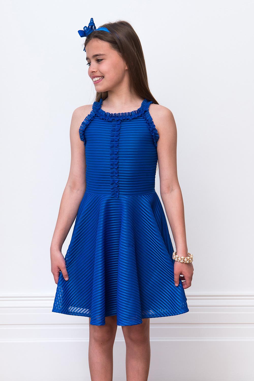 Vestido de fiesta azul volantes