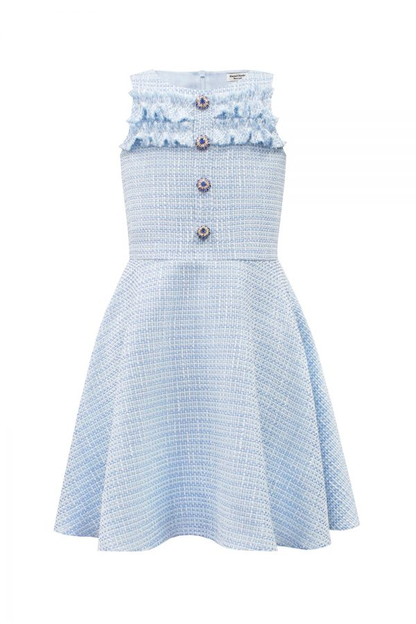Blue Jewelled Tweed Dress