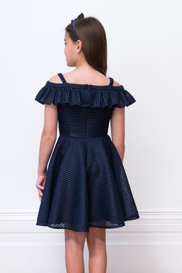 Navy Ruffle Prom Gown