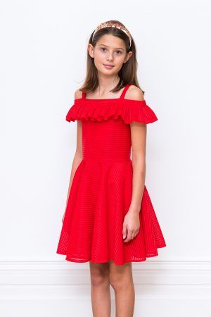 Red Ruffle Party Gown