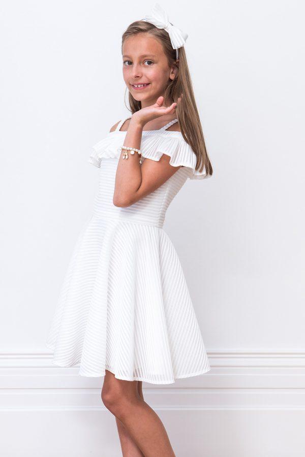 Ivory Ruffle Bridesmaid Dress