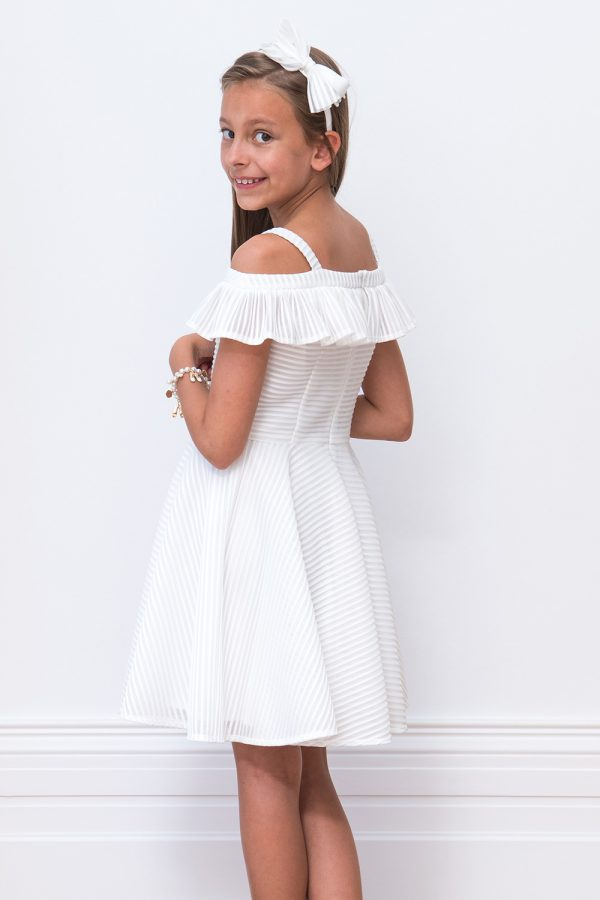 Ivory Ruffle Bridesmaid Dress