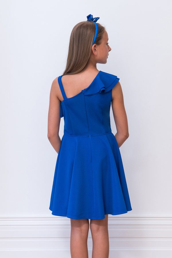 Royal Blue Asymmetric Frill Dress