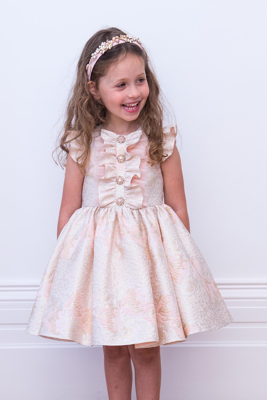 3213996a9db6a Blush Pink Brocade Party Dress - David Charles Vêtements pour enfants
