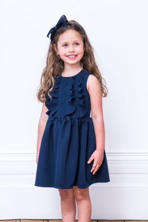 Navy Ruffle Trim Day Dress