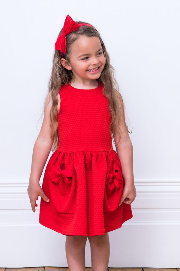 Red Bow Pocket Dress
