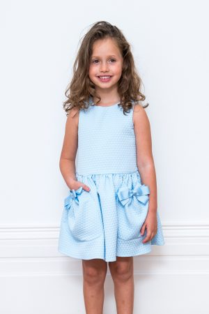 Blue Bow Pocket Dress