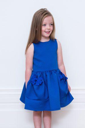 Royal Blue Bow Pocket Dress