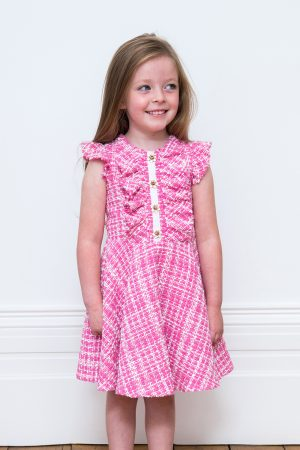 Pink Check Tweed Dress