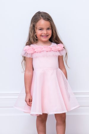 Rose Pink Ruffle Party Gown