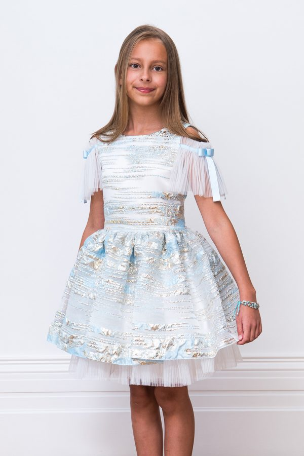 Pearlescent Blue Ballerina Gown