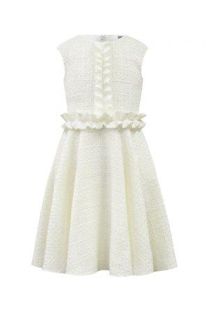 ivory tweed ruffle casual dress
