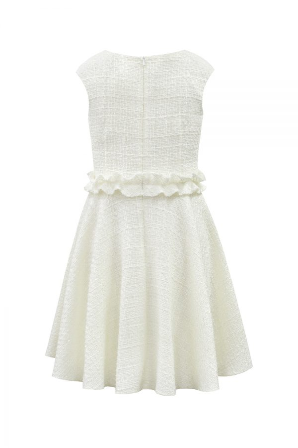 ivory tweed ruffle casual dress