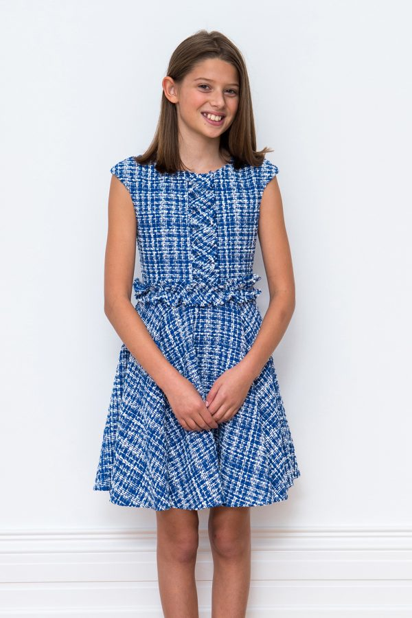 royal blue tweed ruffle dress