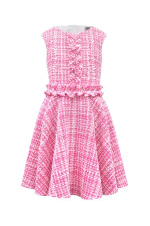pink tweed frill dress