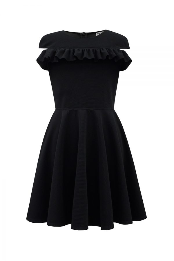 black Bardot ruffle formal dress