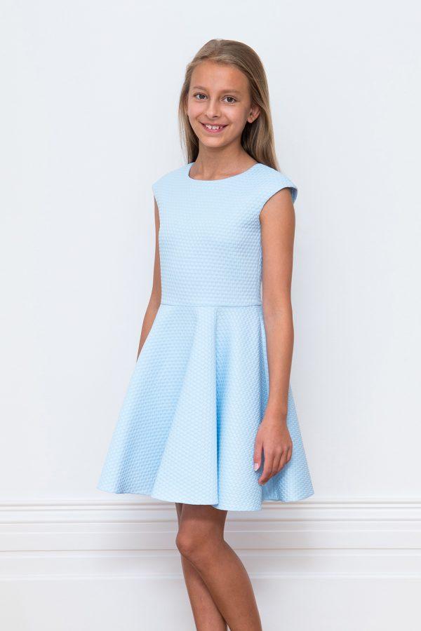 blue criss cross prom dress