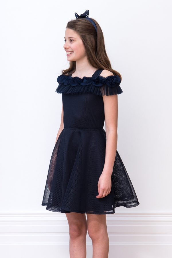 navy rose ruffle bridesmaid dress