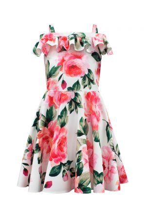 ivory floral Bardot dress