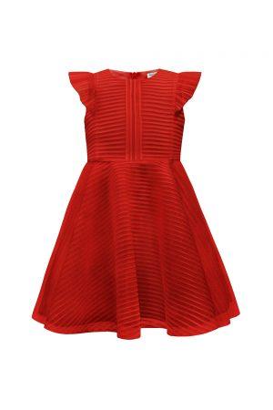 ruby red formal ruffle dress.