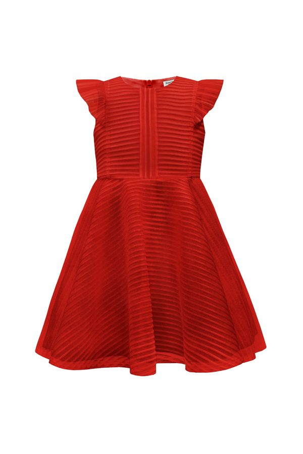 ruby red formal ruffle dress.