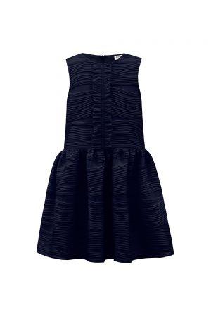stylised navy ruffle dress
