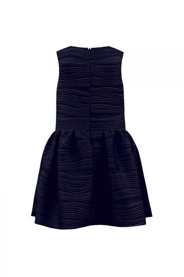 stylised navy ruffle dress