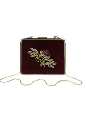 wine velvet rose box bag