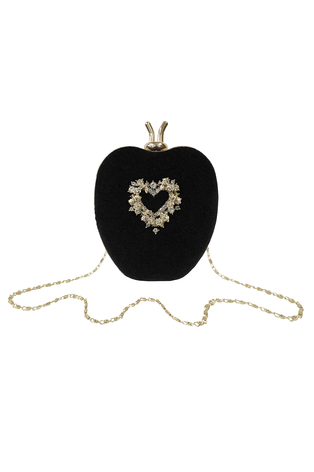 black velvet apple clutch bag