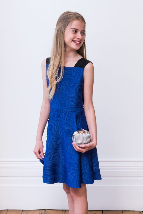 stylised royal blue prom dress